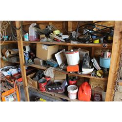 CONTENTS OF WOOD SHELF INCLUDING GERRY CANS, HOSE, HARDWARE, WINDSHIELD WASHER FLUID, ETC