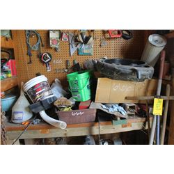 CONTENTS ON BENCH & ON WALL INCLUDING FUNNELS, FILTERS, BINS, WELDING ROD, ETC