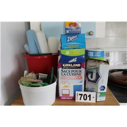 CLEANING SUPPLIES, PAILS, ZIPLOC BAGS, ETC
