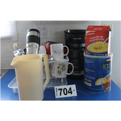 COFFEE MAKER, CUPS, GLASSES, DISH DRAINER, ETC