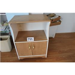 ROLLING WHITE/BROWN MICROWAVE STAND