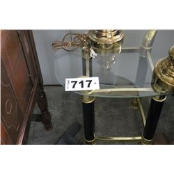 2 GLASS/BRASS END TABLES
