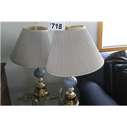 2 BLUE/BRASS LAMPS WITH SHADES