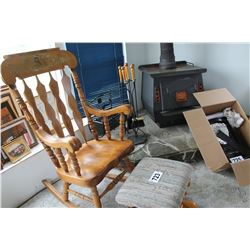 WOOD ROCKING CHAIR & GLIDER FOOT STOOL
