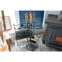 BLACK LOG HOLDER & FIREPLACE TOOLS SET