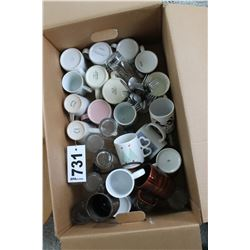 BOX WITH MUGS, GLASSES, UTENSILS, ETC
