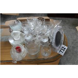 ASSORTED GLASSES, SAUCERS, CUPS, PICTURE FRAME, ETC