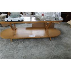 OVAL WOOD & GLASS COFFEE TABLE
