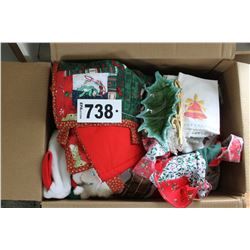 BOX WITH LINEN, CASSEROLES, CHRISTMAS DECORATIONS, ETC