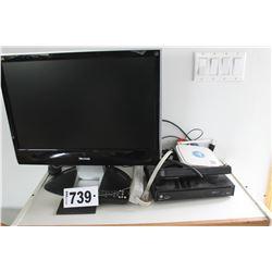 VIEWSONIC TV, REMOTE, POWER BAR, SHAW BOX, ETC