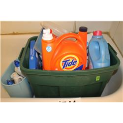 TOTE WITH CLEANING SUPPLIES, LAUNDRY DETERGENT, ETC