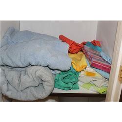 TOWELS, LIGHT BULBS, SWIFTER REFILLS (IN CLOSET)