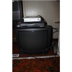 TOSHIBA TV, REMOTE, DVD PLAYER, SHAW BOX, POWER BAR, ETC
