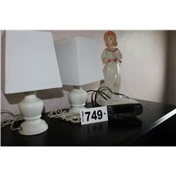 2 LAMPS & SHADES, SONY CLOCK RADIO, CERAMIC LADY FIGURINE