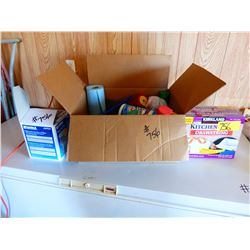 BOX WITH CLEANERS, GARBAGE BAGS, ETC