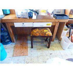 BUTCHER BLOCK WORK TABLE & STOOL