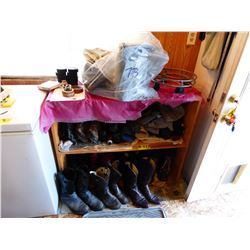 WOOD SHELF WITH ASSORTED BOOTS & SHOES