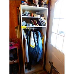 WHITE SHELVING UNIT WITH CLOTHING, HATS, TOQUES, ETC