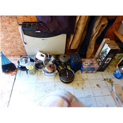 POTS, PANS, COFFEE POT, ETC (CAMPING SUPPLIES)