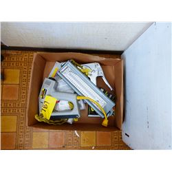 BOX WITH GLUE GUN, SCALE, STAPLER, ETC