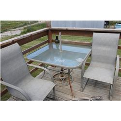 PATIO TABLE, 2 CHAIRS, UMBRELLA STAND