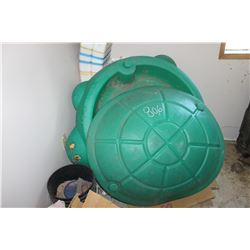 KID'S TURTLE SAND BOX WITH COVER, BOOK SHELF, TOMATO CAGES, ETC