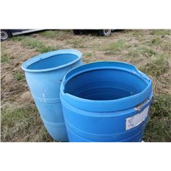 2 OPEN BLUE PLASTIC BARRELS
