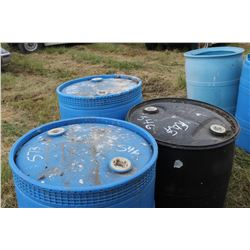 3 CLOSED PLASTIC BARRELS