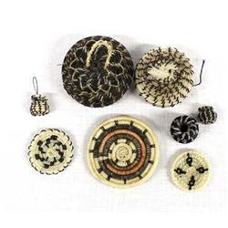 8 Miniature & Micro Mini Tohono O'odham Baskets