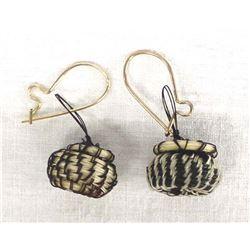 Native American Navajo Horse Hair Basket Earrings