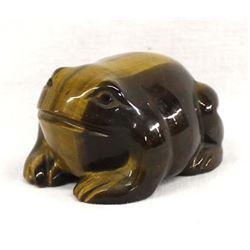 Carved Tiger's Eye Frog