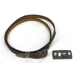 Antique Cowboy Leather Hat Band w/ Silver Buckle