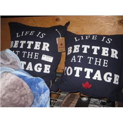 SET OF 2 LIFE IS BETTER AT THE COTTAGE THROW PILLOWS