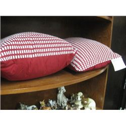 SET OF 2 RED AND WHITE THROW PILLOWS