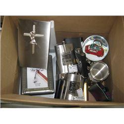 BOX OF FRAMES,FLASKS,ETC