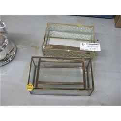 SET OF 2 GLASS DECOR BOXES