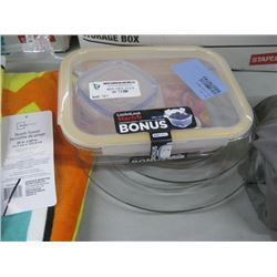 ASSORTED GLASS PLATES AND STORAGE CONTAINER