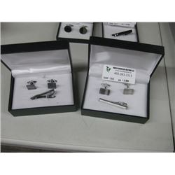 SET OF 2 CUFFLINKS AND TIE CLIP
