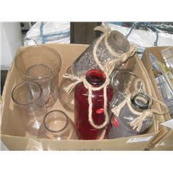 BOX OF ASSORTED GLASSWARE