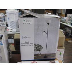 MAINSTAYS BLACK FLOOR LAMP WITH READING LIGHT