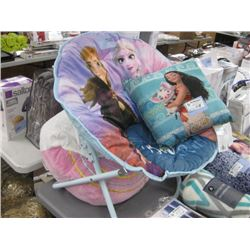 DISNEY FROZEN CHAIR WITH MOANA PILLOW AND RAINBOW THROW PILLOW