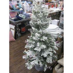CHRISTMAS TREE WITH FAKE SNOW