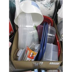 BOX OF ASSORTED PLASTIC CONTAINERS