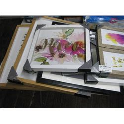 ASSORTED PICTURE FRAMES AND WALL DECOR