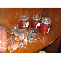 SET OF 3 YANKEE CANDLES AND SET OF 9 YANKEE CANDLES AIR FRESHENER