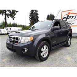 G2 --  2008 FORD ESCAPE XLT SUV, GREY, 137,485 KMS