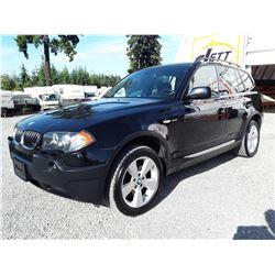 D6 --  2005 BMW X3 2.5I , Black , 210785  KM's