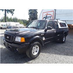 F4 --  2005 FORD RANGER SUPER CAB, BLACK, 310,416 KMS