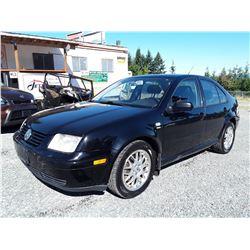 J6 --  2001 VW JETTA WOLFSBURG , Black , 237557  KM's