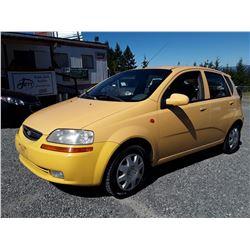 J1 --  2004 CHEVROLET AVEO LS  , Yellow , 201983  KM's